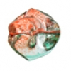 Glass Twisted 11mm Round Bead Orange/Teal Green - Strung